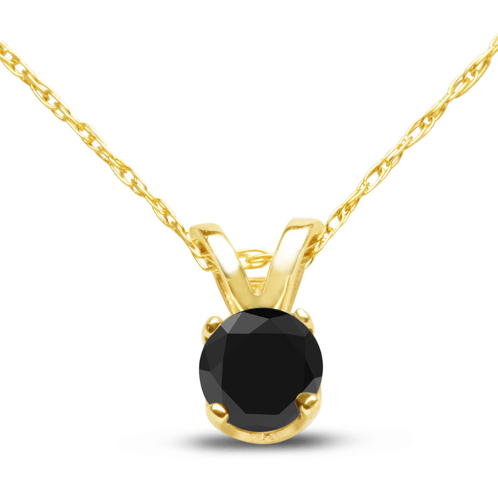 1/4 Carat Black Diamond Solitaire Pendant Necklace in 10k Yellow