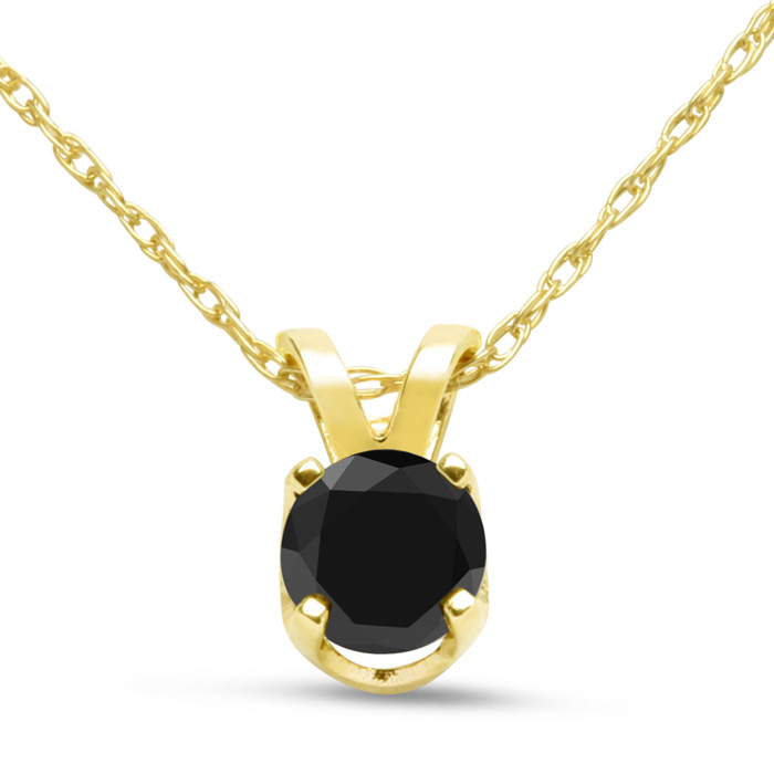 1/3 Carat Black Diamond Solitaire Pendant Necklace in 10k Yellow