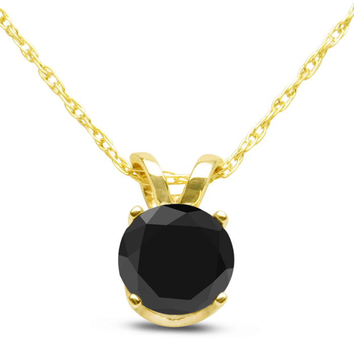1/2 Carat Black Diamond Solitaire Pendant Necklace in 10k Yellow