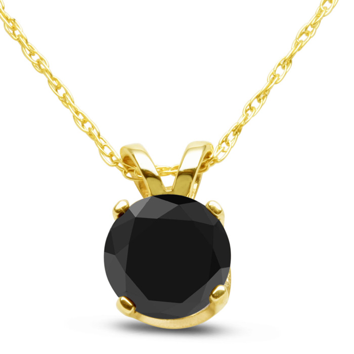 3/4 Carat Black Diamond Solitaire Pendant Necklace in 10k Yellow