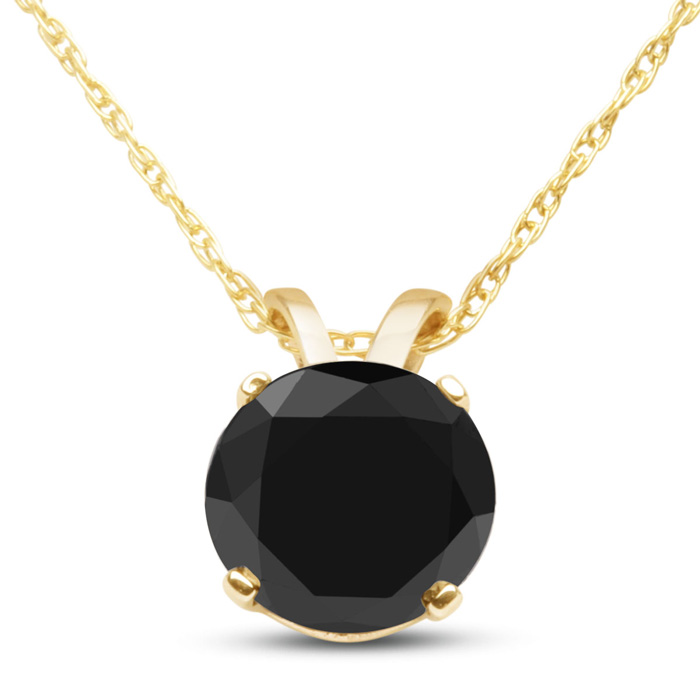 1 Carat Black Diamond Solitaire Pendant Necklace in 10k Yellow Go