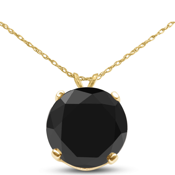 1.5 Carat Black Diamond Solitaire Pendant Necklace in 14k Yellow Gold (1.4 g), 18 Inch Chain by SuperJeweler