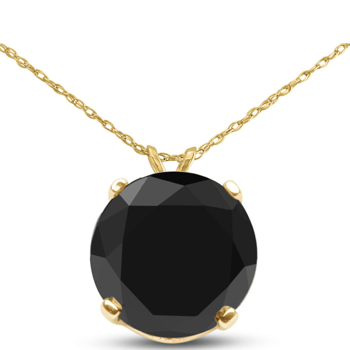 2 Carat Black Diamond Solitaire Pendant Necklace in 14k Yellow Gold (1.5 g), 18 Inch Chain by SuperJeweler
