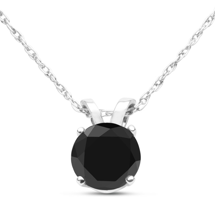 1/2 Carat Black Diamond Solitaire Pendant Necklace in Sterling Silver, 18 Inch Chain by SuperJeweler