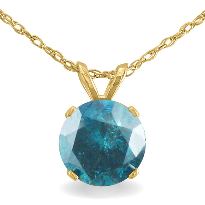 1.5 Carat Blue Diamond Solitaire Pendant Necklace, 14k Yellow Gol