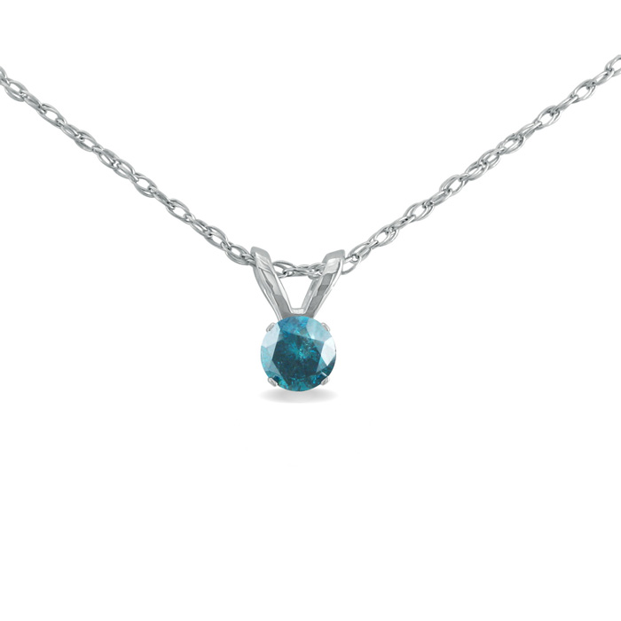 1/8 Carat Blue Diamond Pendant Necklace in Sterling Silver, 18 In