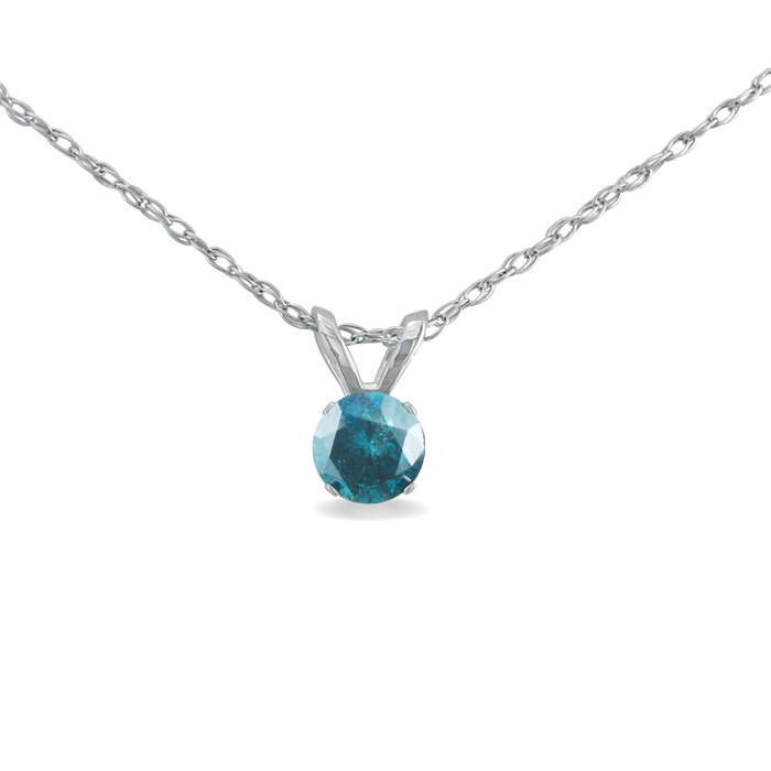 1/5 Carat Blue Diamond Pendant Necklace in Sterling Silver, 18 Inch Chain by Hansa