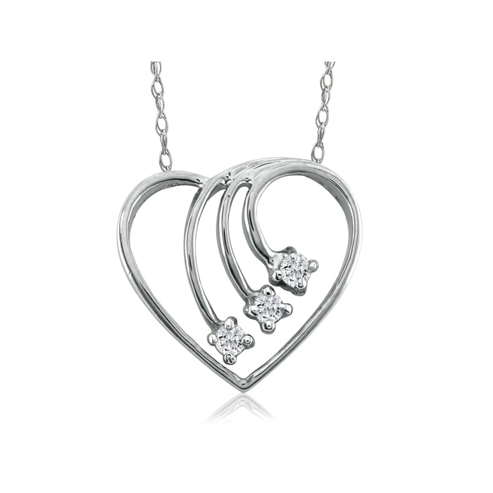 Fine Diamond Spray Heart Pendant Necklace, 14k White Gold, H/I, 1