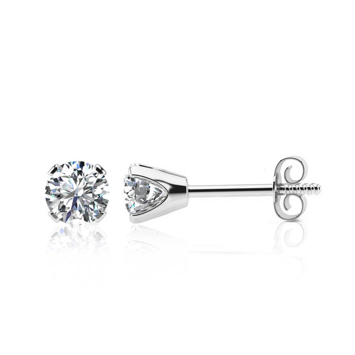 1 Carat Diamond Stud Earrings in 10k White Gold, H/I by SuperJewe