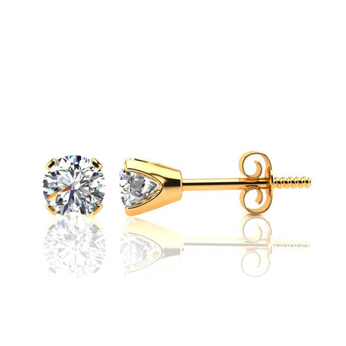 1 Carat Diamond Stud Earrings in 10k Yellow Gold, J/K by SuperJew