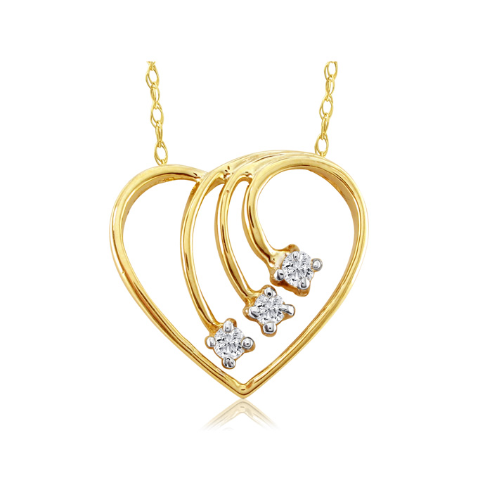 Fine Diamond Spray Heart Pendant Necklace, 14k Yellow Gold (1.8 g