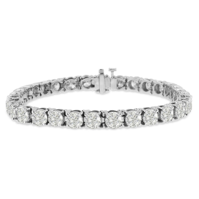 Image of 15ct Round Setting Diamond Tennis Bracelet Crafted In Solid 14 Karat White Gold