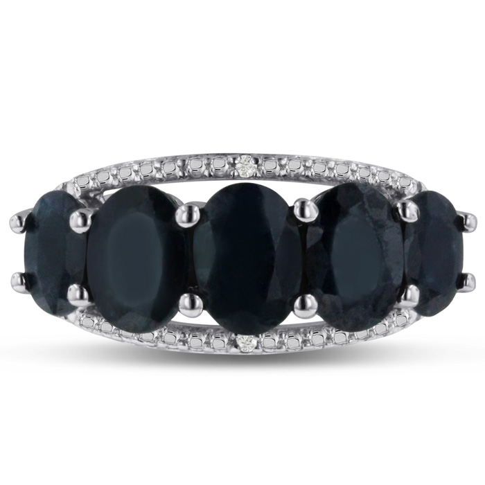 4 1/2 Carat NATURAL Blue Sapphire & Diamond Ring Crafted in Solid