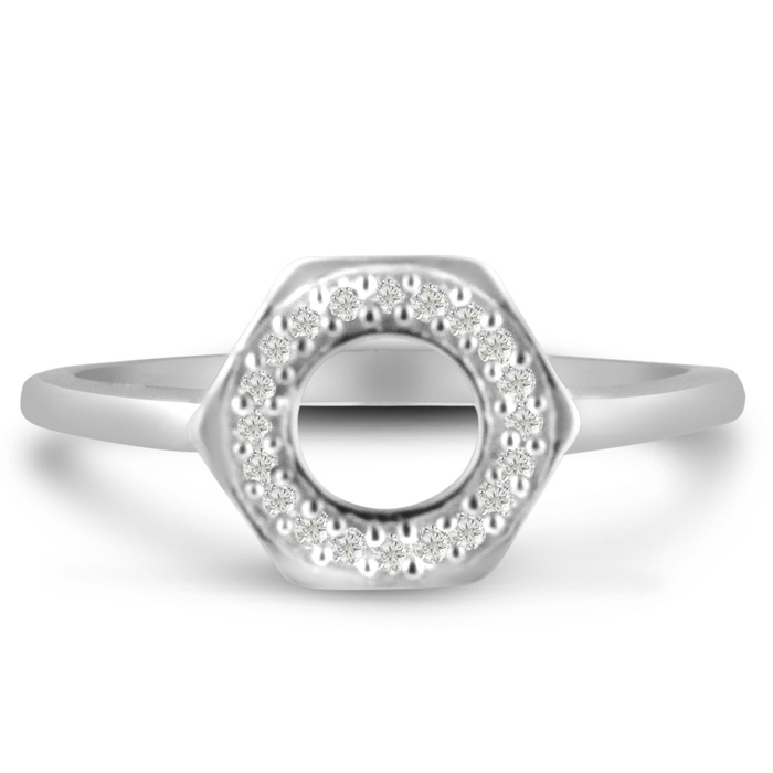 Bolt Ring w/ Diamonds Crafted in Solid Sterling Silver, J/K by SuperJeweler