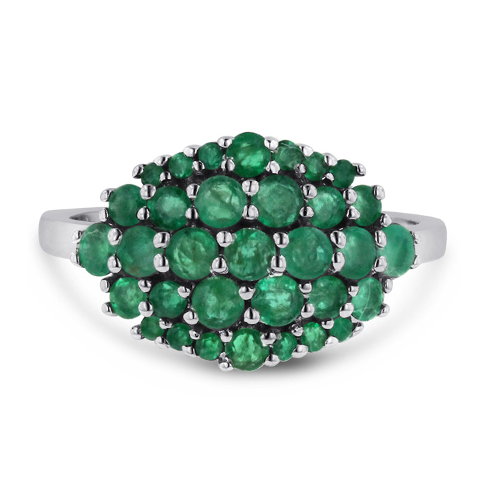 1.30 Carat Emerald Cluster Ring Crafted in Solid Sterling Silver by SuperJeweler