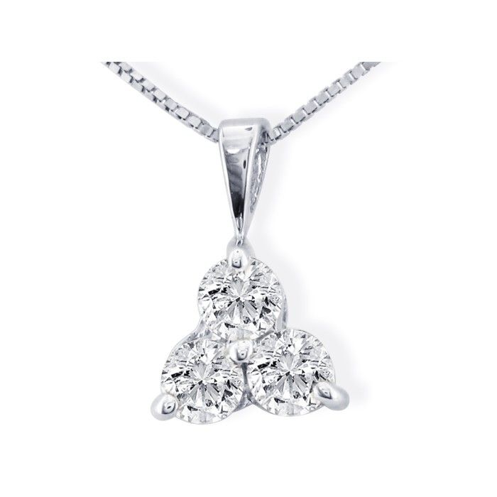 1/8 Carat Three Diamond Triangle Style Diamond Pendant Necklace in 14k White Gold (0.8 g), I/J, 18 Inch Chain by SuperJeweler