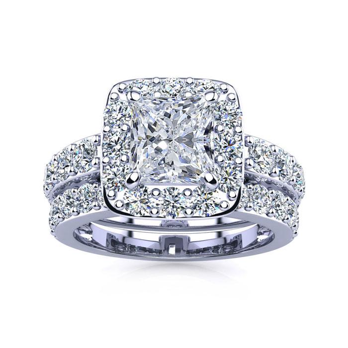 9445f187ff42c Halo Engagement Rings | 2 1/4 Carat Radiant Halo Diamond Bridal Set ...