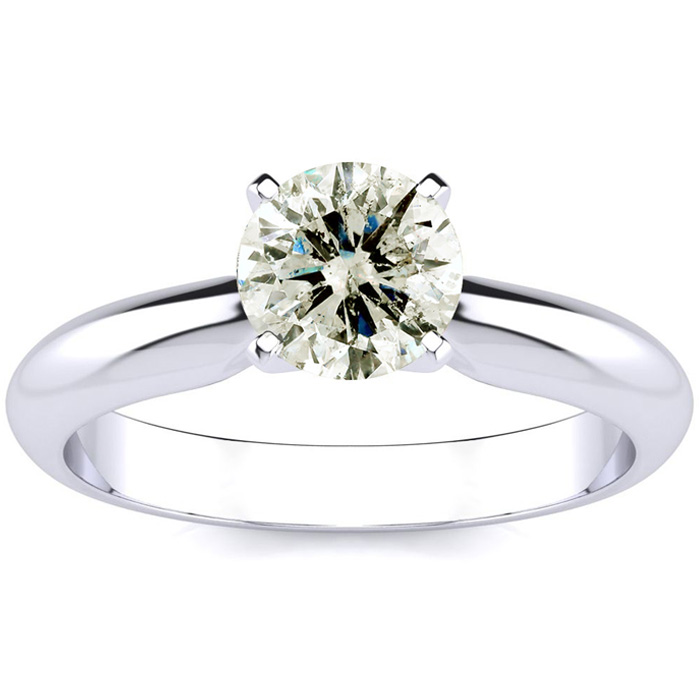 1 Carat Diamond Solitaire Engagement Ring in 14K White Gold (1.5 g) (J-K, I2-I3 Clarity Enhanced) by SuperJeweler
