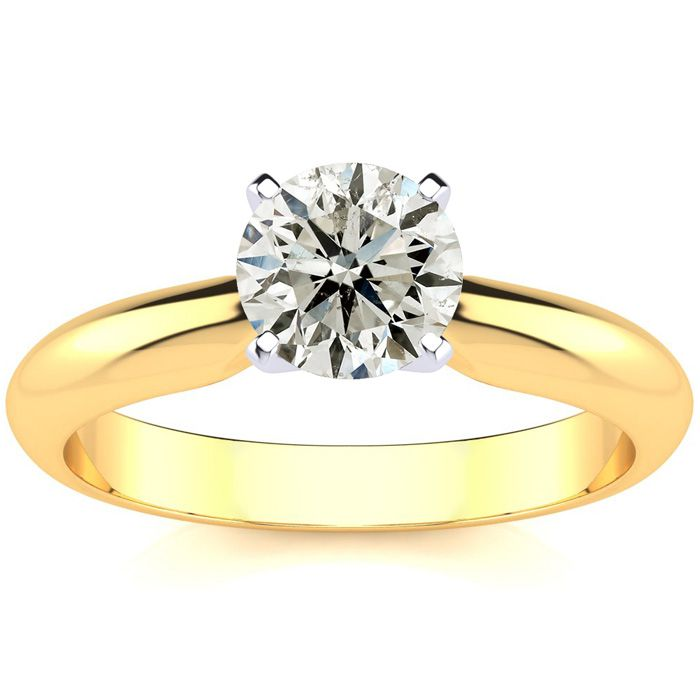 1 Carat Diamond Solitaire Engagement Ring in 14K Yellow Gold (J-K, I2 Clarity Enhanced) by SuperJeweler