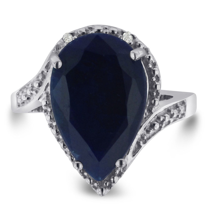 7 Carat Pear Shape Sapphire & Diamond Ring Crafted in Solid Sterling Silver, J/K by SuperJeweler