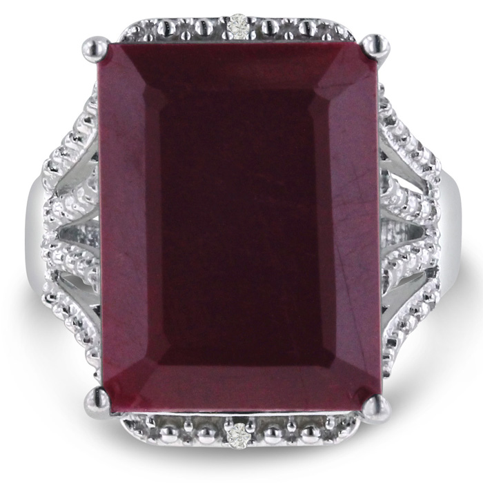 15 Carat Ruby & Diamond Ring Crafted in Solid Sterling Silver, J/