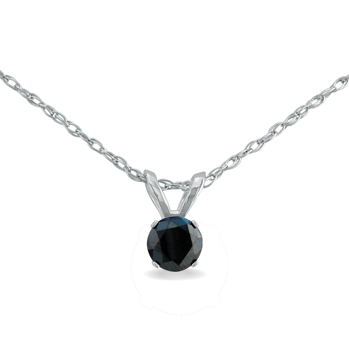 1/4 Carat Black Diamond Solitaire Pendant Necklace in Sterling Si