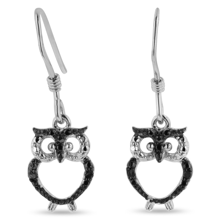 Black Diamond Owl Earrings Crafted in Solid Sterling Silver by Su