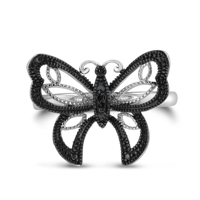 Black Diamond Butterfly Ring Crafted in Solid Sterling Silver by