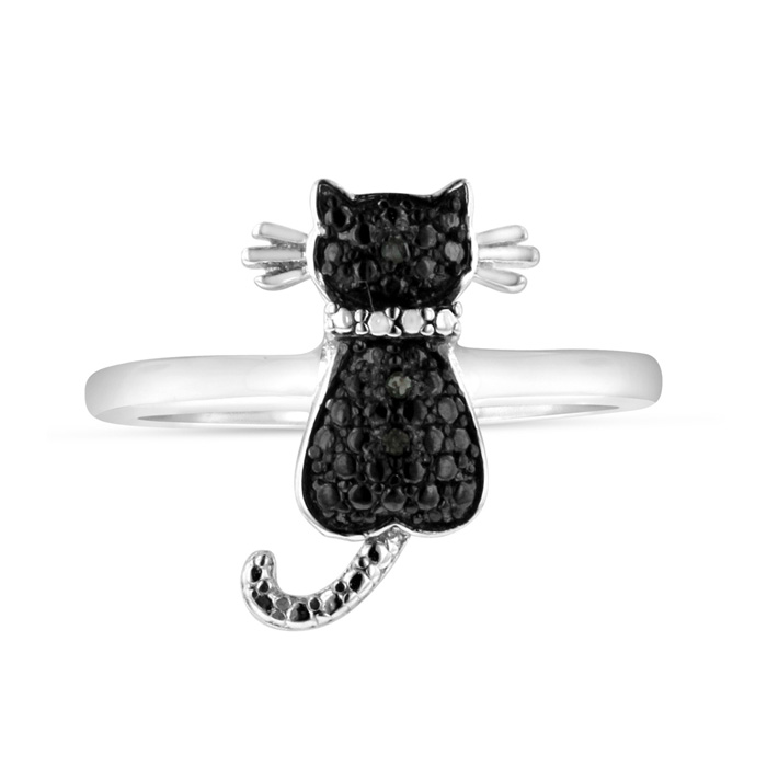 Black Diamond Cat Ring Crafted in Solid Sterling Silver, Size 4 by SuperJeweler