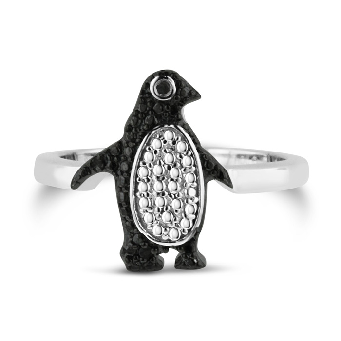 Brand new Black Diamond Penguin Ring Crafted In Solid Sterling Silver  RI64