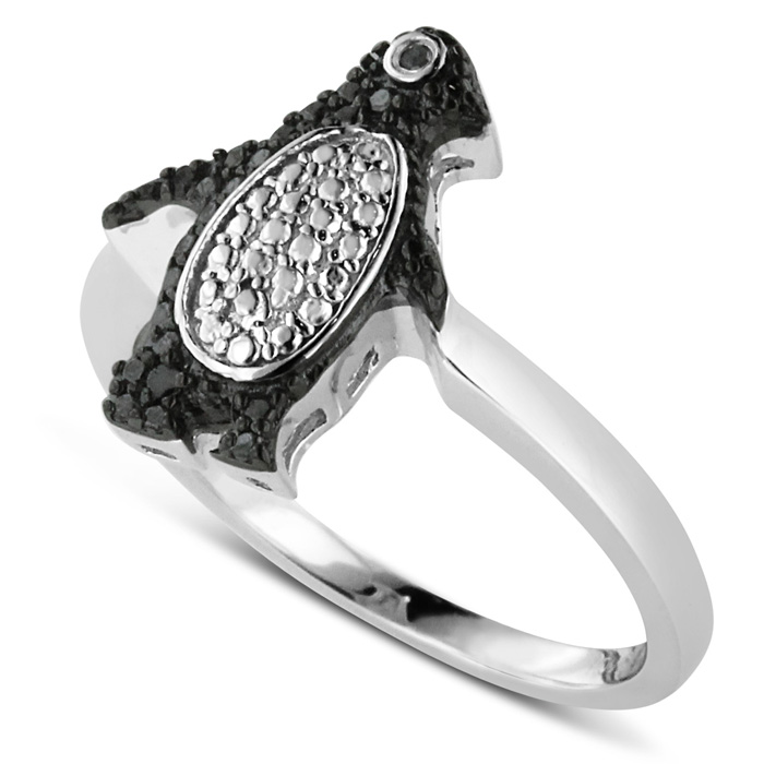 Very best Black Diamond Penguin Ring Crafted In Solid Sterling Silver  AQ37