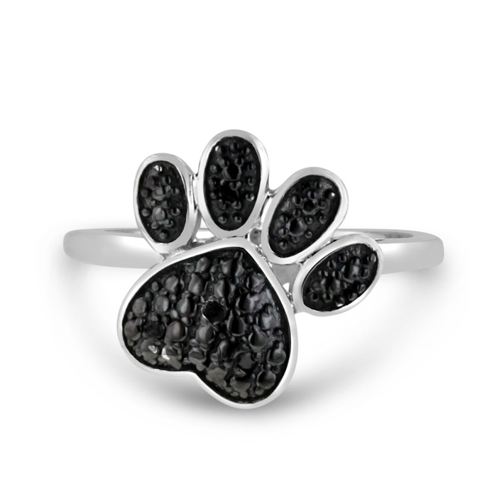 Black Diamond Dog Paw Ring Crafted in Solid Sterling Silver, Size