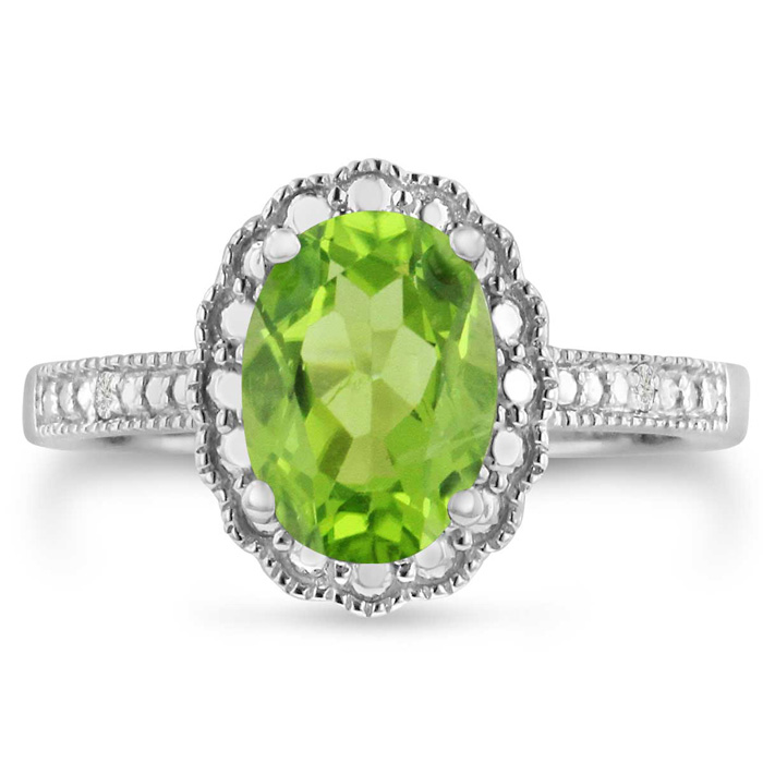2 Carat Oval Peridot & Diamond Halo Ring Crafted in Solid Sterling Silver, J/K by SuperJeweler