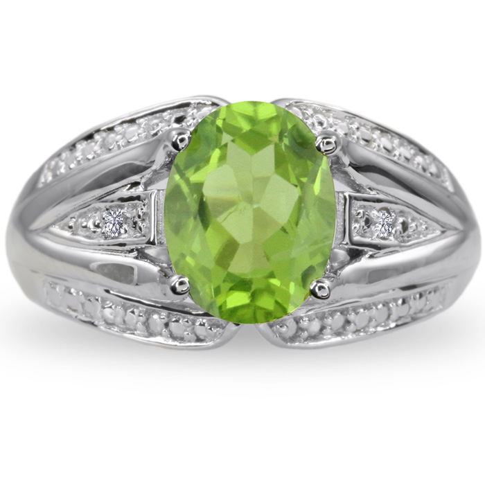 2 Carat Oval Peridot & Diamond Split Shank Ring Crafted in Solid Sterling Silver, J/K by SuperJeweler