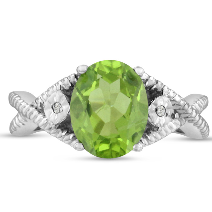 3 Carat Oval Peridot & Diamond Ring Crafted in Solid Sterling Silver, J/K by SuperJeweler