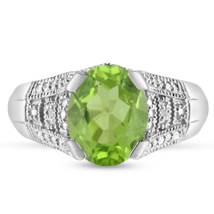 3 Carat Oval Peridot & Diamond Ring, Antique Style, Crafted in So
