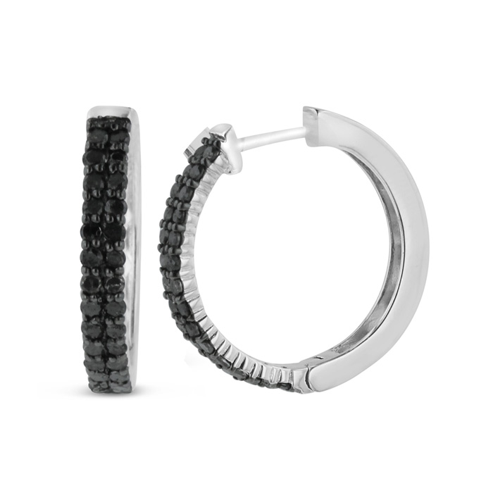 1 Carat Black Diamond Pave Hoop Earrings Crafted in Solid Sterling Silver by Hansa