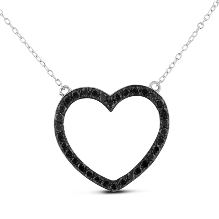 1 Carat Black Diamond Heart Necklace Crafted in Solid Sterling Silver, 18 Inches by SuperJeweler