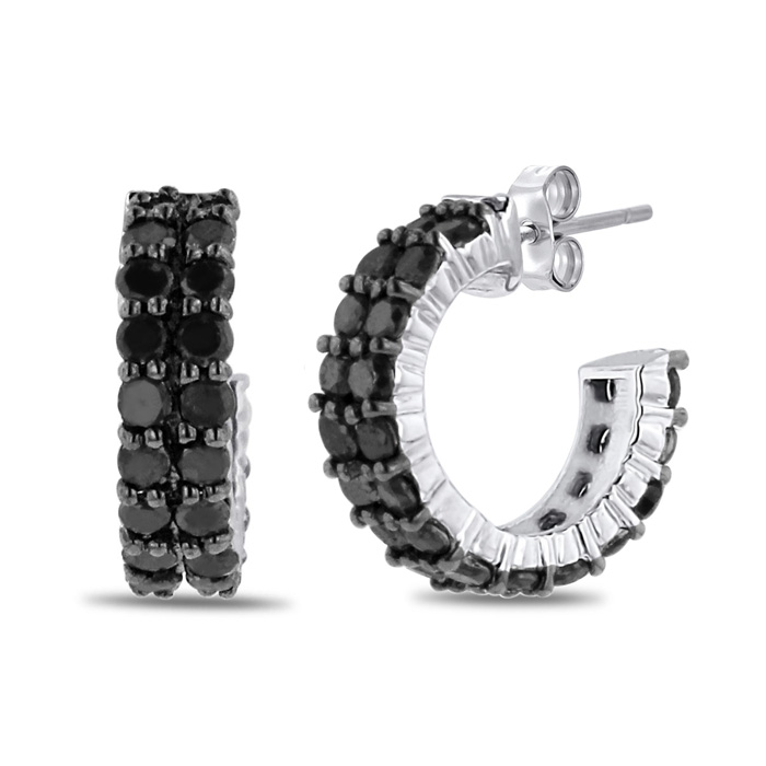 2 Carat Black Diamond Pave Hoop Huggy Earrings Crafted in Solid S