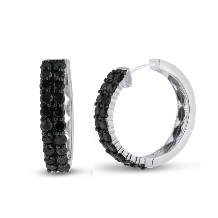 2 Carat Black Diamond Pave Hoop Earrings Crafted in Solid Sterling Silver by Hansa