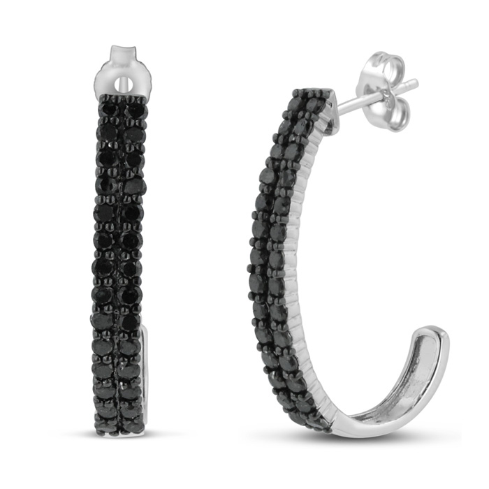 2 Carat Black Diamond Double Row Hoop Earrings Crafted in Solid S