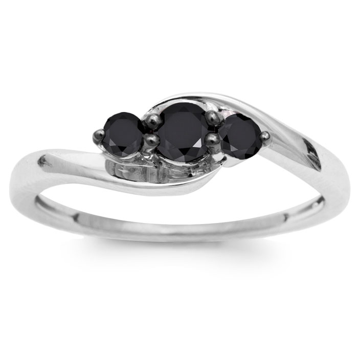Image of 3/8ct Triple Black Diamond Ring Crafted In Solid Sterling Silver