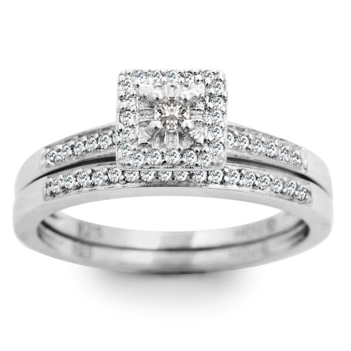 1/4 Carat Pave Halo Diamond Bridal Ring Set in Sterling Silver (J