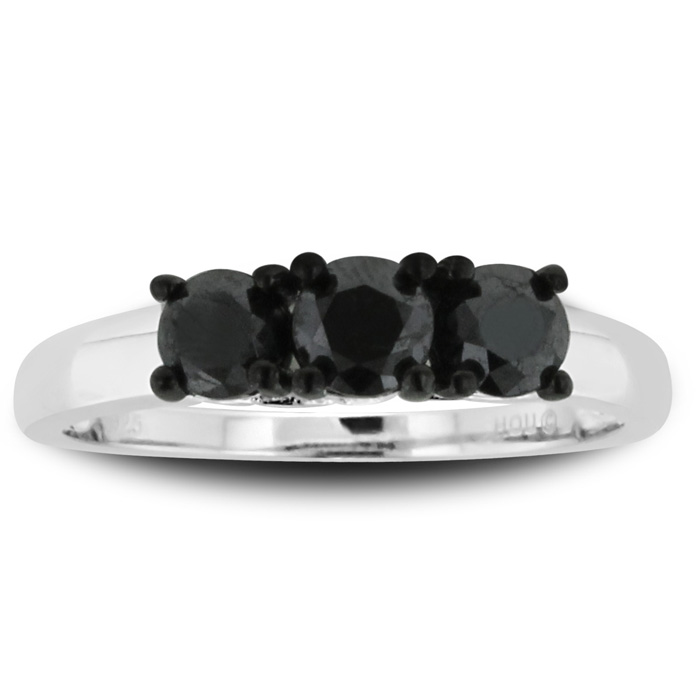 1 Carat Triple Black Diamond Ring Crafted in Solid Sterling Silver by Hansa