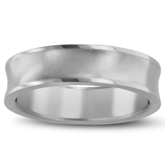 6 MM Brushed Finish Curved Men's Titanium Ring Wedding Band