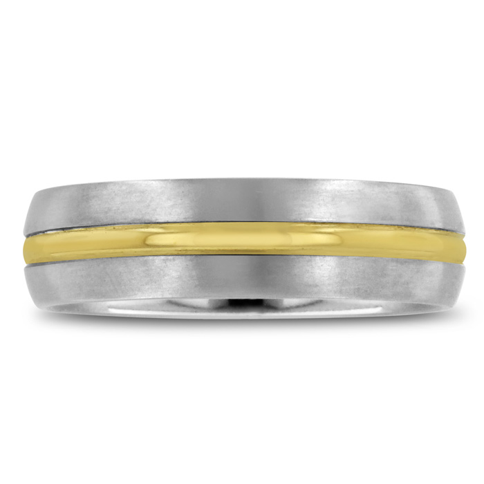 7 MM Two-Tone Mens Titanium Ring Wedding Band, Size 10.5 by Super