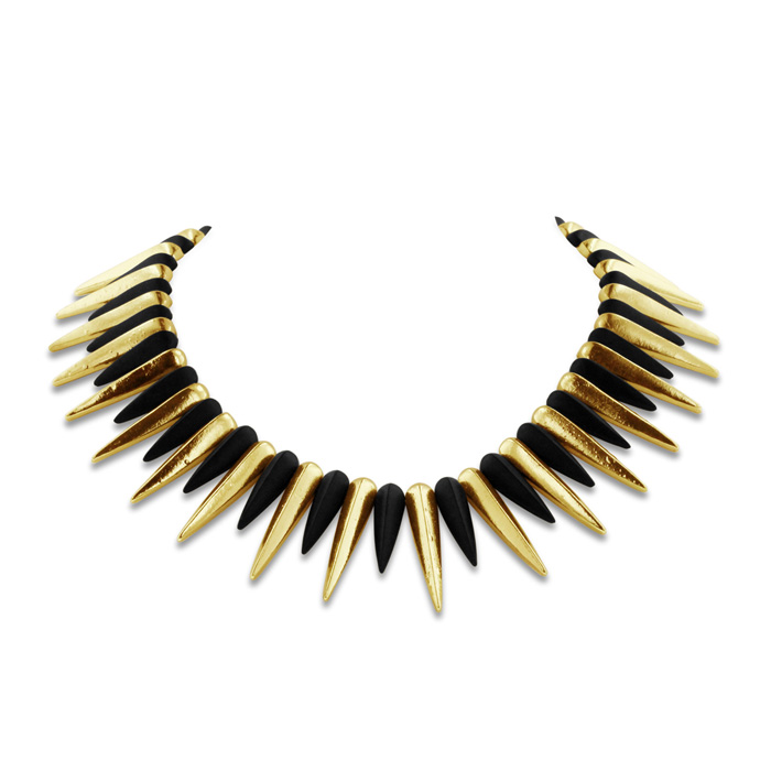 Black & Gold Plated Spike Necklace, 18 Inches by Passiana
