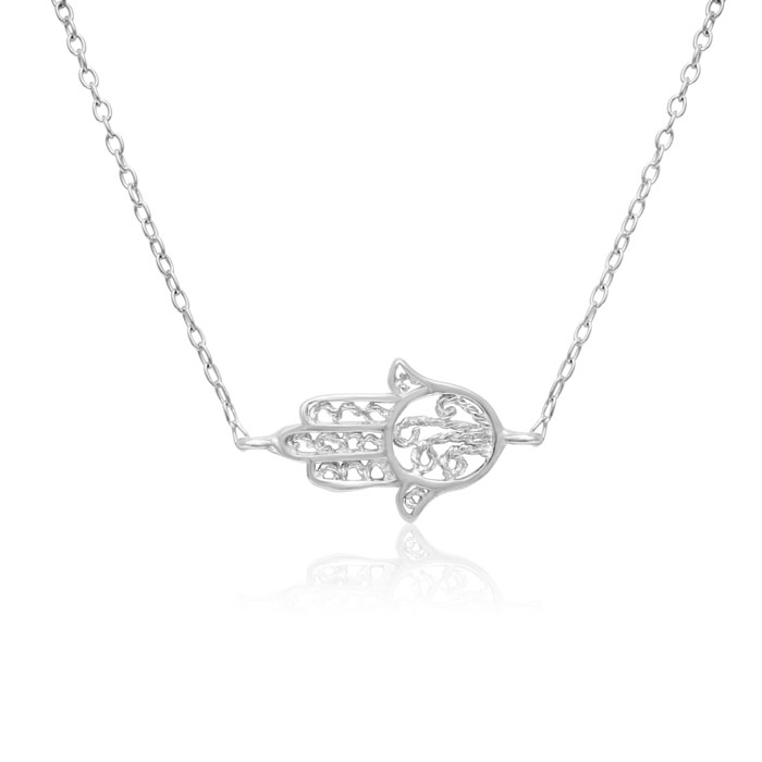 Dainty Hamsa Necklace, 18 Inches by SuperJeweler
