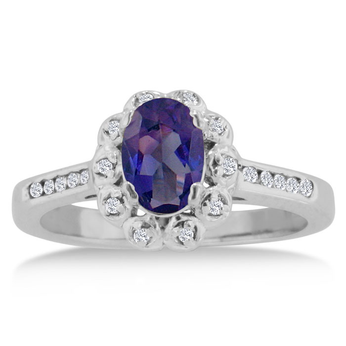 1.25 Carat Oval Amethyst & Diamond Ring Crafted in Solid 14K White Gold, I/J by SuperJeweler