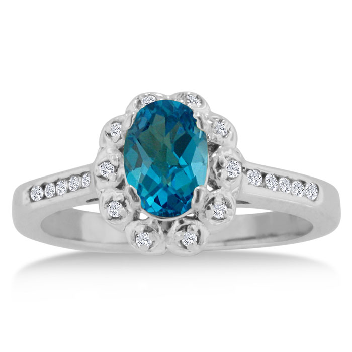 1.25 Carat Oval Blue Topaz & Diamond Ring Crafted in Solid 14K Wh